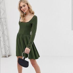Asos Green Long Sleeve Skater Holiday Dress Sz 8